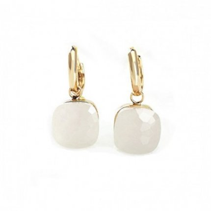 imitation pomellato nudo earrings 18k yellow gold with white quartz