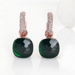 imitation pomellato nudo earrings in rose gold with green quartz and diamonds