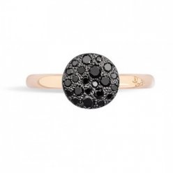 cheap pomellato sabbia ring in rose gold and pave black diamonds