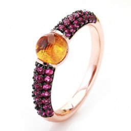 imitation pomellato m'ama non m'ama ring in pink gold with madeira quartz and rubies