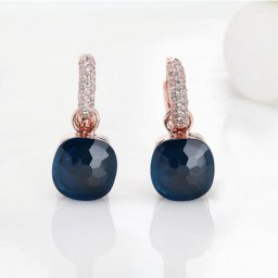 pomellato nudo earrings replica in pink gold with blue sapphire and diamonds