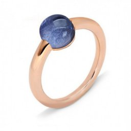 fake pomellato m'ama non m'ama ring in pink gold with blue sapphires