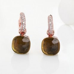 replica pomellato nudo earrings in rose gold with smoky quartz and diamonds