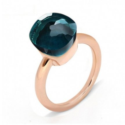 low price pomellato nudo ring in rose gold with london blue topaz