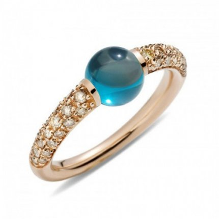 imitation pomellato m'ama non m'ama ring in pink gold with london blue topaz and brown diamonds