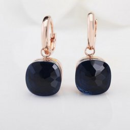 imitation pomellato inspired nudo earrings in rose gold with blue quartz