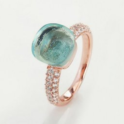 cheap pomellato nudo ring in pink gold with blue topaz and diamonds