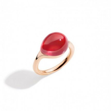 replica pomellato rouge passion ring in rose gold with synthetic orange sapphier