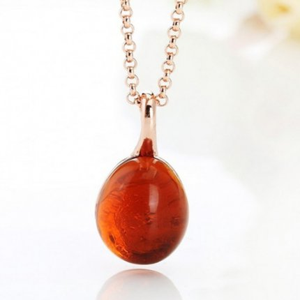 fake pomellato rose gold pendant with chain rouge passion synthetic orange sapphire
