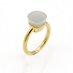 replica pomellato nudo ring in 18k yellow gold with white jade