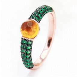 low price pomellato m'ama non m'ama ring in rose gold with madeira quartz and tsavorites