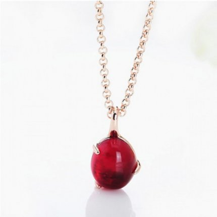 replica pomellato rose gold necklace with chain rouge passion synthetic ruby