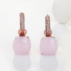 imitation pomellato nudo earrings in rose gold with pink quartz and diamonds