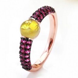 cheap pomellato m'ama non m'ama ring in rose gold with lemon quzrtz and rubies