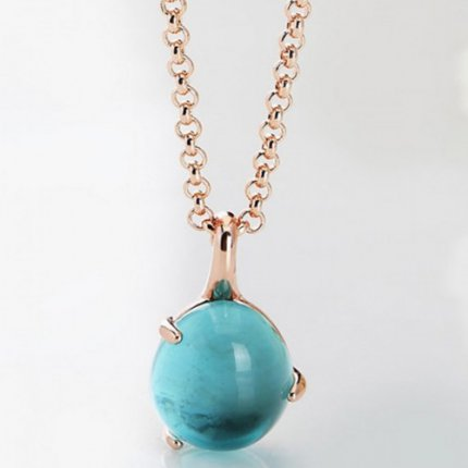 imitation pomellato rose gold necklace with chain rouge passion turquoise