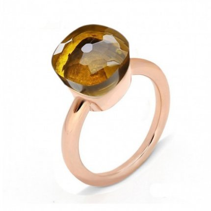 low price pomellato nudo ring in pink gold with madeira quartz
