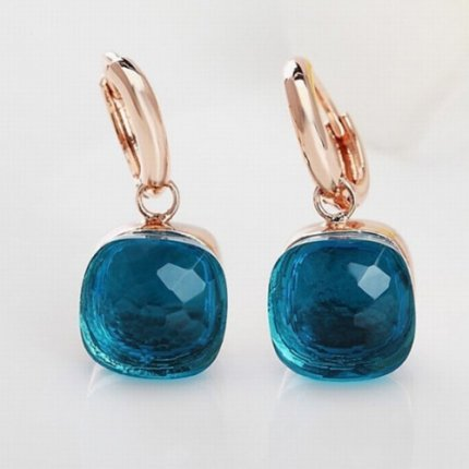 pomellato nudo earrings replica in rose gold with london blue topaz
