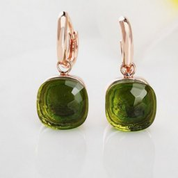 imitation pomellato nudo earrings in pink gold with prasiolite