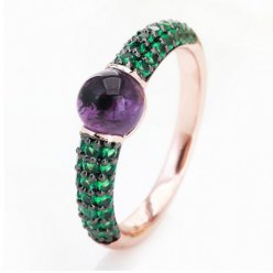 pomellato m'ama non m'ama ring in pink gold with amethyst and tsavorites low price
