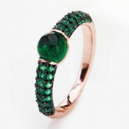 cheap pomellato m'ama non m'ama ring in pink gold with green quartz and tsavorites