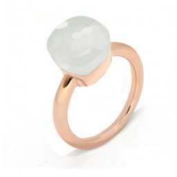 fake pomellato nudo ring in rose gold with white jade