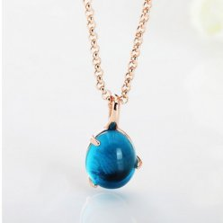 fake pomellato pink gold necklace with chain rouge passion london blue topaz
