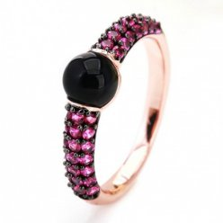 imitation pomellato m'ama non m'ama ring in rose gold with jet and rubies