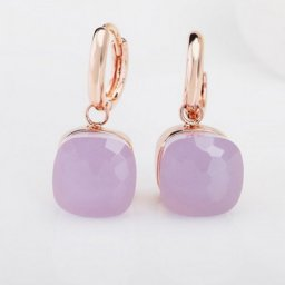 replica pomellato inspired nudo earrings in pink gold with pink quartz