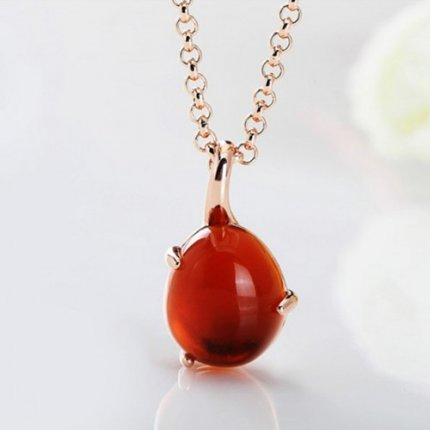 replica pomellato pink gold pendant with chain rouge passion synthetic orange sapphire