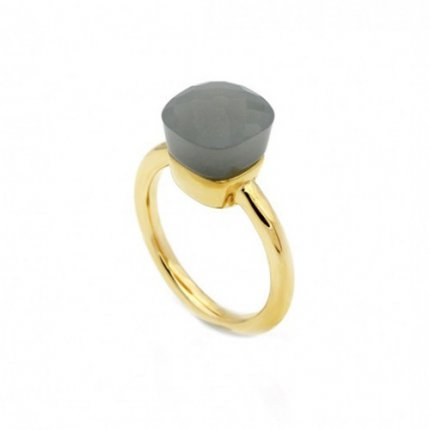 pomellato nudo ring imitation in yellow gold with grey quartz