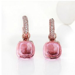imitation pomellato nudo earrings in pink gold with pink topiz and diamonds