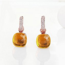 fake pomellato nudo earrings in rose gold with madeira quartz and diamonds