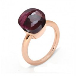fake pomellato nudo ring in rose gold with garnet
