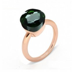 low price pomellato nudo ring in pink gold with green quartz