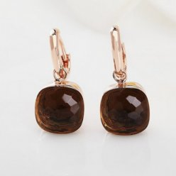 fake pomellato nudo earrings in rose gold with smoky quartz