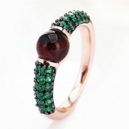 low price pomellato m'ama non m'ama ring in rose gold with garnet and tsavorites