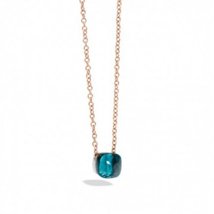 imitation pomellato nudo necklace with london blue topza and chain in pink gold