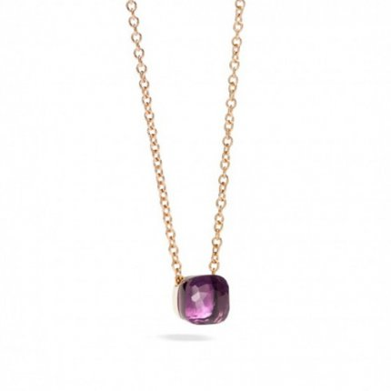 imitation pomellato nudo pendant with amethyst and chain in pink gold