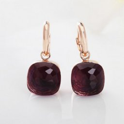 imitation pomellato inspired nudo earrings in 18 rose gold with garnet