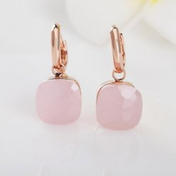 replica pomellato nudo earrings in pink gold with pink quartz
