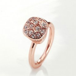 imitation pomellato nudo ring in rose gold with paved diamonds