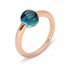 Replik Pomellato m'ama Non m'ama Ring in rosa Gold mit London Blue Topas