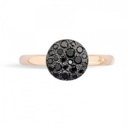 Nachahmung Pomellato Sabbia Ring in Rose Gold und Pave Black Diamonds