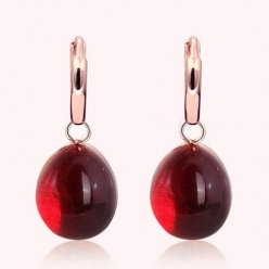 faux Pomellato Rouge Passion Boucles d'oreille or rose et Ruby