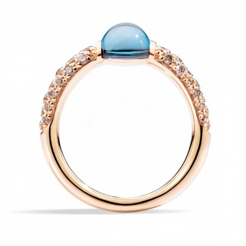 imitation pomellato m'ama non m'ama ring in pink gold with london blue topaz and brown diamonds - Click Image to Close
