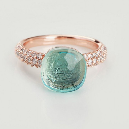 cheap pomellato nudo ring in pink gold with blue topaz and diamonds - Click Image to Close